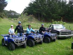 Mr & Mrs Aitken and Mr & Mrs Beuls getting ready for their 90 Mile Beach Quad Biking Adventure! #New Zealand #Luxury #Travel