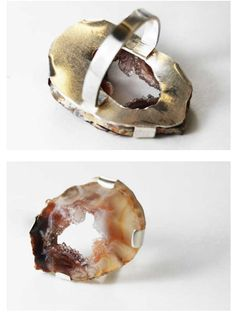 from Objects and Elements:  The band on this ring is soldered to a foundation that allows the stone's rough edges to show ...