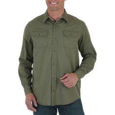 Wrangler Big Men's Long Sleeve Solid Twill Shirt, Size: 2XL, Green