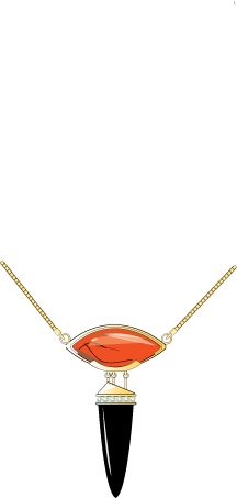 Tailored carnelian and only with diamonds pendant