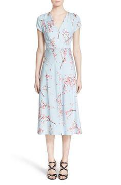 Nordstrom Signature and Caroline Issa Print Silk Twill Midi Dress available at #Nordstrom