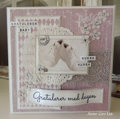 min lille scrappe-verden: Baby bursdagskort (DT for Kort & Godt)