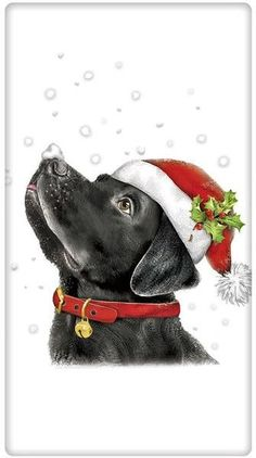 Santa Hat Black Labrador Retriever Dog 100% Cotton Flour Sack Dish Towel Tea Towel