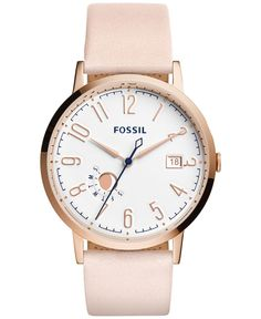Fossil - Vintage Rose Goldtone Stainless Steel and Pink Leather Strap Watch, Stylish Watches, Casual Watches, Watches For Men, Sport Watches, Muse, Fossil Watches, Beautiful Watches, Pink Leather, Smooth Leather