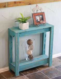 SALE Small Turquoise Entry Console by DougAndCristyDesigns on Etsy