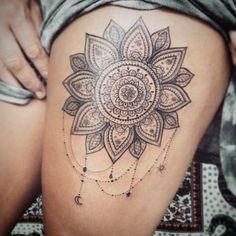 Large Cuisse Mandala Tattoo Design at MyBodiArt