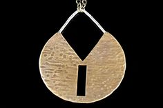 Sterling Silver and Brass Textured Circle Pendant, Modern Geometric Necklace by AURAVEDASF on Etsy
