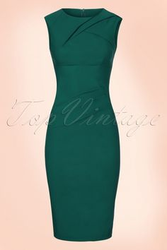 Vixen - 50s Claudette Pencil Dress in Sea Green