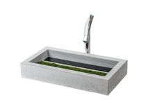 MOSS – Modern designed basin with live moss, glass inlay and hidden drain. Size: L:72cm W:40cm H:12cm