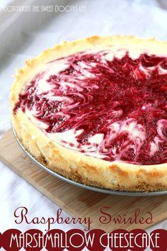 Raspberry Swirled Marshmallow Cheesecake