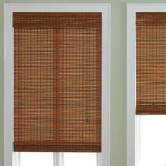 Brand bamboo roller shades in island wood tan for Natural woven flat fold shades