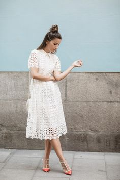 $995 Start your day off with some inspiring street style, like Lovely Pepa's romantic take on the spring dress up. Pair a white midi eyelet lace dress with rockstud Valentino's and pastel shoulder bag.
