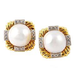 1stdibs   DAVID WEBB Mabe Pearl and Diamond Earclips