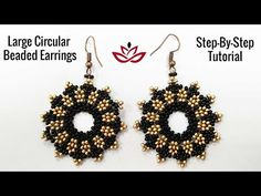 Large Circular Beaded Earrings - Tutorial. How to make seed beads earrings? - YouTube