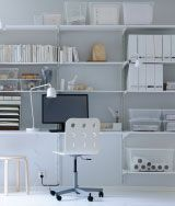 ALGOT white wall-mounted storage solution with shelves and wall uprights