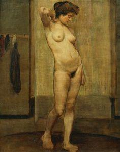 Standing Nude; Nu Debout. Henri Jacques Edouard Evenepoel (1872-1899). Oil on canvas. 78 x 65cm.  - stock photo