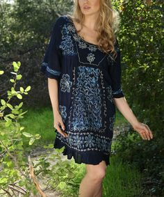 Love this Navy & Turquoise Embroidered Tie-Dye Tunic - Women by Ananda's Collection on #zulily! #zulilyfinds