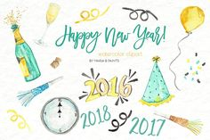 Watercolor Clip Art - New Year by Maria B. Paints on @creativemarket