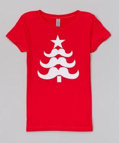 Look at this #zulilyfind! Red Stache Tree Fitted Tee - Infant, Toddler & Girls #zulilyfinds