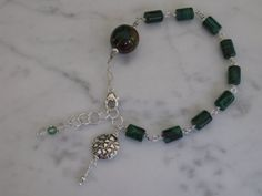 Silver and Malachite  Bracelet.. Sterling by SurrealTreasures, $47.00