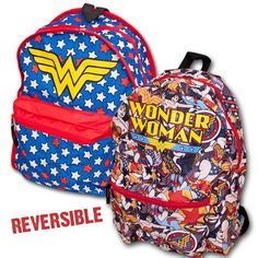 d84f7eaee2 Omg I need this in my life  ) Reversible Wonder Woman Backpack DC Comics  Super Friends Justice League