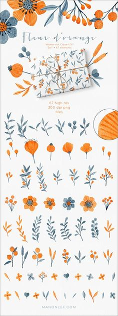 By Lef graphics on Etsy watercolor floral clipart watercolor elements clipart wedding clipart elements watercolour flower graphics hand painted clipart diy by ByLef Illustration Blume, Pattern Illustration, Watercolor Illustration, Illustration Flower, Watercolor Pattern, Watercolor Flowers, Watercolor Art, Drawing Flowers, Painting Flowers