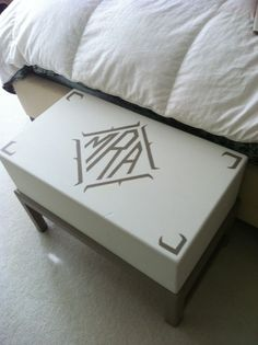 monogram stool (made from an old trunk)