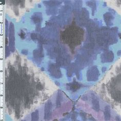 A diamond watercolor print in shades of blue, purple, grey, white and black. This 100% nylon mesh knit is very stretchy widthwise and has moderate lenthwise stretch. Soft, drapable, feather-weight, and sheer, this fabric is nice for overlay or lined styles in semi-fitted or loose flowing cuts. Lingerie, tees, wrap tops, beach cover-ups, dancewear, and costumes are a few looks to consider. Hand wash or machine wash cold in lingerie bag, air dry, do not iron.
