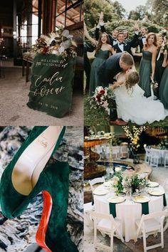 20 Hunter Emerald Green Wedding Color Ideas You'll Love Emerald Wedding Dresses, Emerald Wedding Colors, Unique Wedding Colors, Emerald Green Weddings, Trendy Wedding, Wedding Details, What Is Wedding, Dream Wedding, Dusty Rose Color