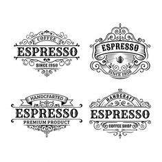 Set of vintage coffee label design, calligraphy and typography elements styled design Premium Vector Café Vintage, Vintage Fonts, Vintage Typography, Typography Fonts, Vintage Labels, Vintage Coffee, Typography Design, Coffee Typography, Vintage Ephemera