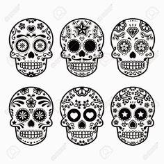 plantilla calaveras 2 sugar skull - Simple Sugar Skull Coloring Pages