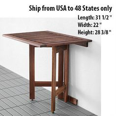 Folded Folding Desk Wall Mounted Drop Leaf Portable Outdoor Indoor Table Ikea