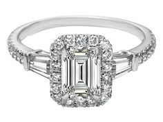 Emerald Cut Diamond Engagement Ring With Baguettes Halo 5