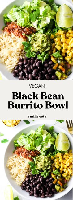 This Vegan Burrito Bowl is full of flavor and easy to make at home! Just wholesome ingredients like vegetables, rice and beans. And guac! (gluten-free)