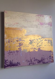Purple and Gold  Abstract Painting Gold White and Pink by JenniferFlanniganart