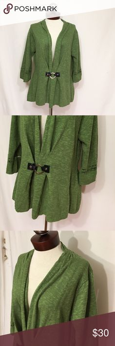 SOFT SURROUNDINGS Cachet Cardigan  leather o ring Excellent condition! Color is shown best in catalog photo. color name: avocado. Style: 22686 🔹Bust 39 🔹length 25 Glamorous little sweater with lots of style savvy, from the shawl collar to the leather-like tab buckle and silver ring. Fully fashioned elbow-length sleeves have a crochet detail. And in back, a drapey, ruched inset tops a shape-defining rib-knit waistband. Softly textured linen/cotton. soft surroundings  Sweaters Cardigans