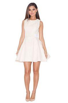 0098e783c3e77 Clothing   Structured Dresses    Farina  Pale Peach Lace Overlay Neoprene Skater  Dress