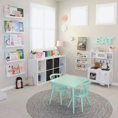Pretty in Pastels Playroom A pretty in pastels playroom. When I designed Elena's Preschool Inspired Playroom, I wanted the room to mimic her days at preschool and it did just that! Dream Playroom: A Best Playroom Design Fun Kids Playroom Idea Playroom Design, Playroom Decor, Playroom Paint Colors, Playroom Table, Colorful Playroom, Wall Decor Kids Room, Vintage Playroom, Modern Playroom, Modern Room