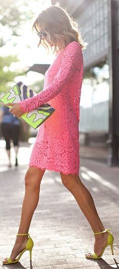 Little Pink Lace Dress with High Heels | Chic Stre...