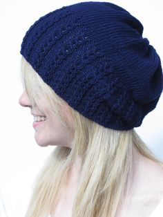 Faux Cable Slouchy Hat Knitting Pattern PDF by haloopajoop on Etsy, $5.00