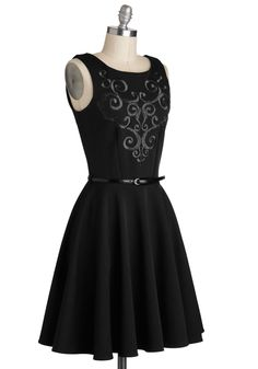Grape Kelly Dress in Black. As you step out of the limo in your black A-line dress, which is produced in the UK by Closet, strappy silver heels, and jeweled minaudiere, you are taken in by the luminous city library, regal and majestic against the backdrop of the night. #black #modcloth