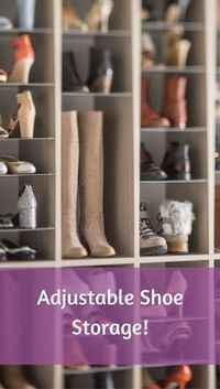 I love this idea for a shoe storage solution! Adjustable shelves makes it easy to customize for new shoes!   #Shoes #Storage #Ad