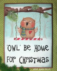 Owl be Home for Christmas ePacket : Puddles of Paint Shop, Patterns for the Decorative Painter