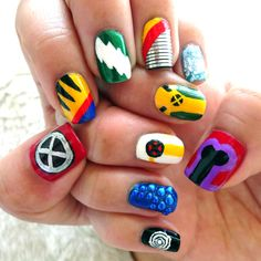 X-Men: Days of Future Past Nail Art. Throwback to the old comic book uniforms featuring: Xavier, Wolverine, Quicksilver, Colossus, Iceman, Magneto, Rogue, Storm, Mystique, and Havok. #nailart #marvel