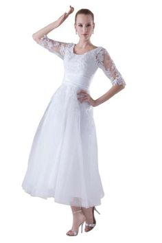 GEORGE BRIDE Half-Sleeves Tea-Length Formal Aplliques Wedding Dress 2 Ivory GEORGE BRIDE,http://www.amazon.com/dp/B00GFJ8KMU/ref=cm_sw_r_pi_dp_pNz3sb1FAVNFDDF5