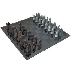 Pierre Cardin 1969 Evolución juego de ajedrez con la tarjeta de cristal 1