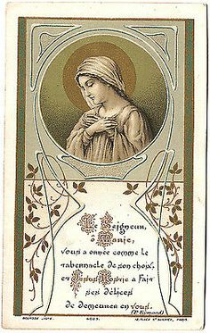 Antique Vintage French Art Nouveau Holy Prayer Card Mary with Folded Hands | eBay