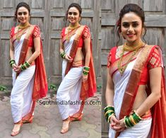 Amruta Khanvilkar celebrated Gudi Padwa wearing a white and red traditional saree draped in Nauvari style. A pair of red juttis, traditional jewellery and a soft updo decorated with roses completed her look! Indian Bridal Sarees, Indian Bridal Outfits, Indian Beauty Saree, Maharashtrian Saree, Marathi Saree, Maharashtrian Jewellery, Marathi Bride, Wedding Saree Blouse Designs, Kurti Designs Party Wear