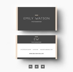 Three colour business card template by Emily's ART Boutique on @creativemarket