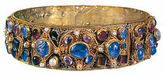 Crown of Kunigunde of Luxembourg, Empress consort of Emperor Henry II, Holy Roman Empire (early 10th c.; gold, sapphires, amethysts, pearls, carnelians, peridots, topazes).